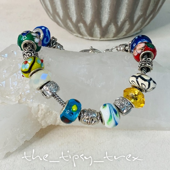 Multi Glass Bead Bracelet with Heart Clasp